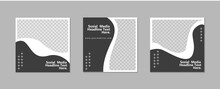 Set Of Editable Minimal Square Banner Template. Black White Background Color With Geometric Shapes For Social Media Post And Web Internet Ads. Vector Illustration With