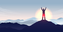 Mountaintop Hands In Air - Winner Person Standing On Mountain Peak Cheering With Epic View. Freedom And Personal Success Concept. Vector Illustration With Copy Space For Text.
