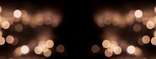 Beautiful Festive Bokeh On A Black Background Golden Circles, Light Night Bokeh Effect, Deflated. Festive Postcard, Night View.