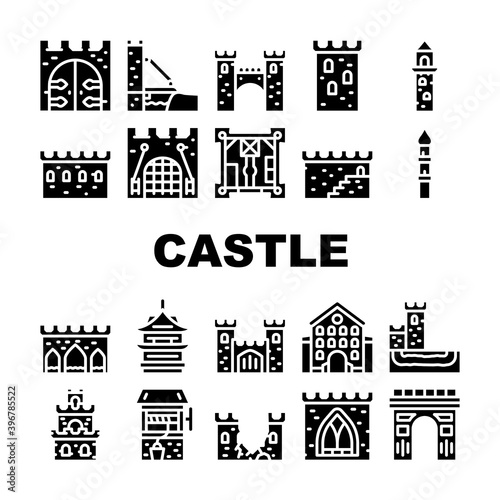 Fototapety, obrazy: Castle Construction Collection Icons Set Vector Illustration