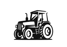Tractor On White Background Agricultural Machinery In Black