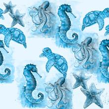 Hand Drawn Watercolor Pattern Of Sea Animals.