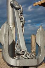 Grosser Eisen Anker Im Hafen