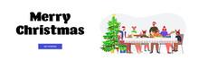 Multi Generation Family In Santa Hats Having Christmas Dinner New Year Winter Holidays Celebration Concept Horizontal Full Length Lettering Greeting Card Vector Illustration
