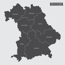 The Bavaria Isolated Map Divided In Regions With Labels, Germany
