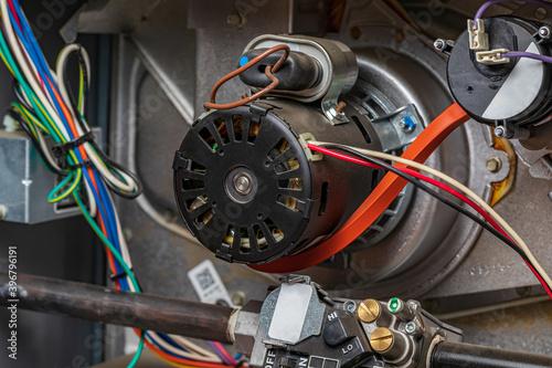 Obraz na plátne Closeup of heater exhaust fan inside of furnace