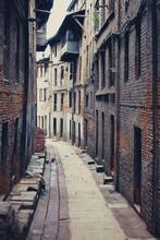 Old Empty Street Of Bhaktapur In Nepal