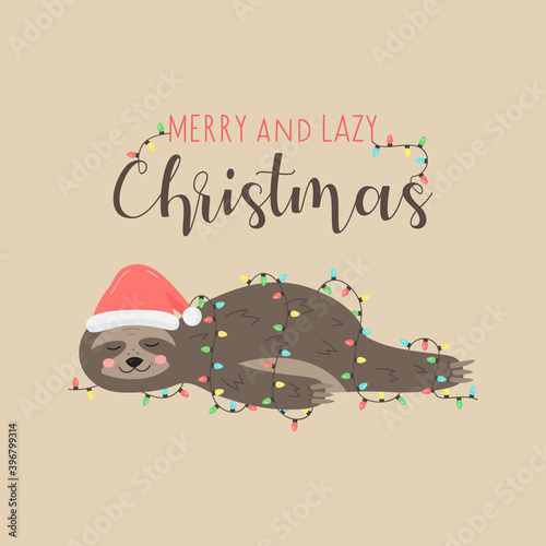 Fototapeta premium Merry and lazy Christmas sloth vector illustration. Cute hand drawn sloth with santa hat lying wrapped in xmas lights. Isolated cartoon greeting card.
