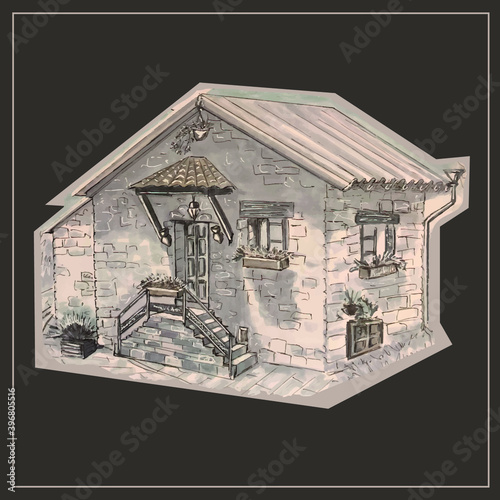 Brick house.  Stone dwelling.  House in the mountains. Cozy place.  Architecture.  Vector isolated images. Wall mural