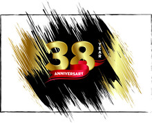 38 Anniversary Celebration, Luxury Anniversary Template Over Gold And Black Brush, Golden Number With Red Ribbon Isolation Background, Party Event Decoration, Vector.