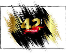 42 Anniversary Celebration, Luxury Anniversary Template Over Gold And Black Brush, Golden Number With Red Ribbon Isolation Background, Party Event Decoration, Vector.