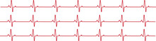Cardiogram Vector Pattern. Graphic Representation Of The Work Of The Heart On A White Background. Medical Cardiogram. Electrocardiogram. Heartbeat. Heart Rhythm.