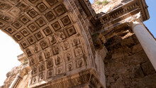 Triumphal Arch, Hadrians Gate, Turkey, Antalya. Detailed View Of Hadrians Gate In Old City Of Antalya, Turkey. Ancient Architecture Close Up. History Of Turkey.