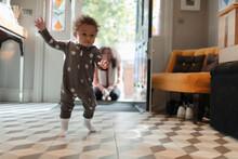 Cute Baby Girl In Star Pajamas...