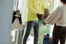 Woman Receiving Grocery Delivery From Courier At Front Door