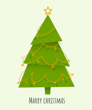Decorated Triangular Christmas Tree With Star, Balls And Beaded Garland, Isolated On White Background. New Year And Merry Christmas Greeting Card, Poster, Icon. Cartoon Style.