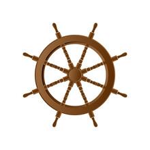 Wrought Iron Ship's Steering Wheel On White Background.
