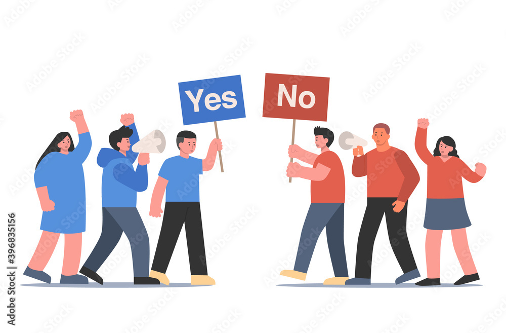 Fototapeta Blue and red clothing peoples raising a sign that have Yes and No text. Cartoon Illustration about different think and opinions of people in social media.