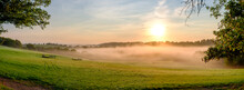 Misty Autumn Morning Over Hambledon In The South Downs, Hampshire