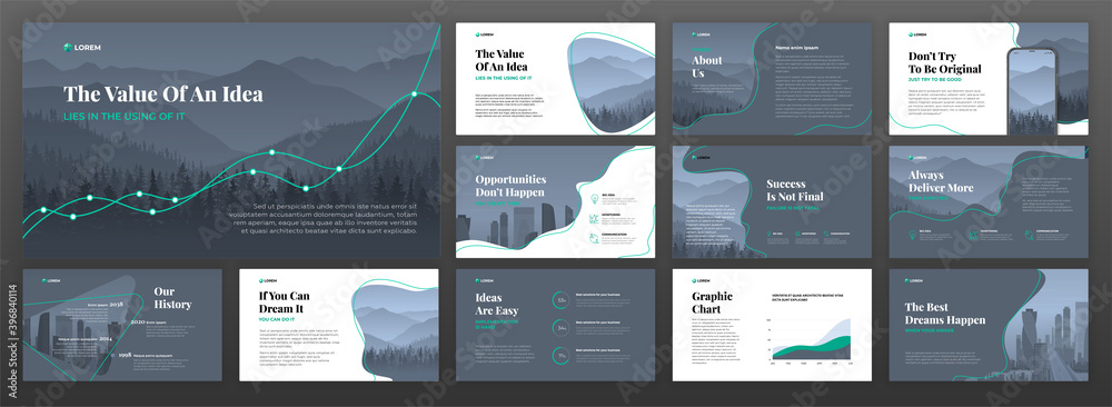 Fototapeta Business powerpoint presentation templates set. Use for keynote presentation background, brochure design, website slider, landing page, annual report, company profile.