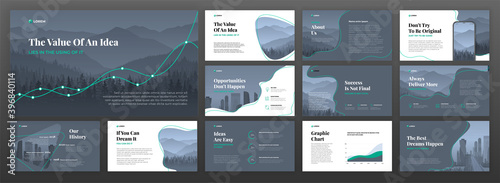 Business powerpoint presentation templates set. Use for keynote presentation background, brochure design, website slider, landing page, annual report, company profile.