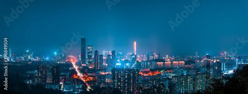 Panoramic city night lighting in Shenzhen, China