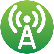Cell Phone Tower Icon On White Background. Wireless Technology. Icon, Button, Graphic Design Element Of A Set In Trendy Flat Style. On Green Gradient Button For Your Web Site Design, Logo, App, UI.