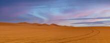 Middle East Orange Sand Dunes Desert Panorama