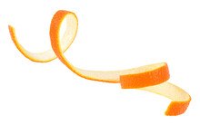 Orange Peel Isolated On A White Background. Spiral Orange Skin. Orange Twist. Citron.