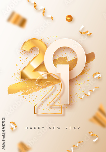 Happy New Year white gold 3d party card Wallpaper Mural