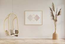 Interior Of A Bright Sunny Room With A Horizontal Poster Between A Hanging Bamboo Chair And Pampas Grass In A Wicker Vase, With A Parquet Floor. 3d Render