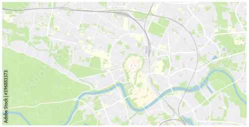 Fototapeta Krakow mapa Cracow Poland vector map Old town plan obraz