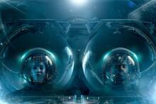 Two Astronauts In Futuristic S...