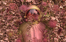 Pink Space Suit Surrounded By Flowers