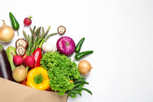 Different Fresh Vegetables On White Background, Top View