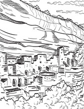 Mesa Verde National Park In Colorado With Puebloan Cliff Dwellings Woodcut Black And White