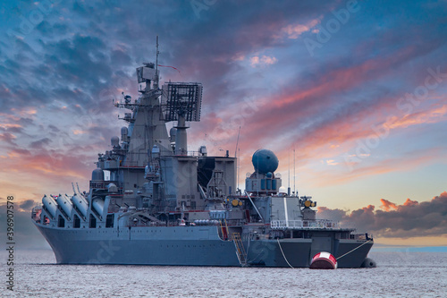 Canvas Print A warship under a beautiful sky
