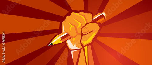 Stampa su Tela hand holding pencil education reform revolution raised fist red background illus