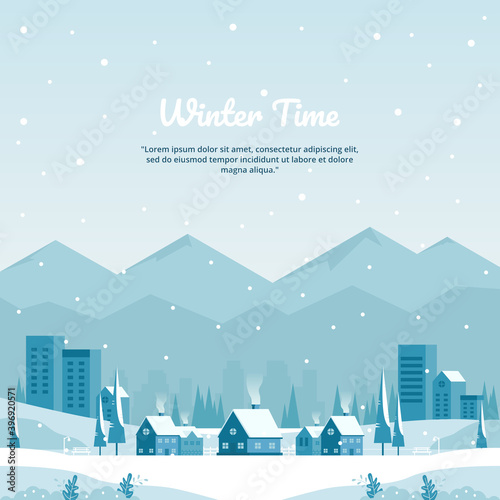 Obraz Vector illustration of winter landscape with city in mountains and flat buildings in blue, perfect for winter and year-end holiday background concept - fototapety do salonu
