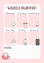 Digital Planner - Weekly Planner Cat & Christmas Collection Suitable For Digital Planners, Journal And Printable Papers