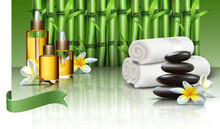 Realistic Spa Wellness Background With Oils And Essentials, Massage Stones And Wild Flowers, Towels And Bamboo Plants.