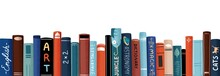 Row Of Different Colorful Books Vector Flat Illustration. Educational Or Entertainment Textbooks With Multicolored Covers Horizontal Background. Literature Backdrop Isolated On White