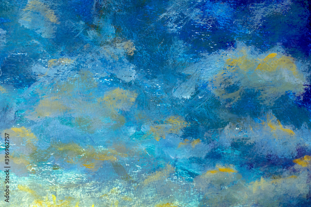 Fototapeta Bright blue sky and clouds background abstract oil painting blue space - handmade background illustration art