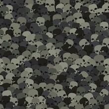 Camouflage Gray Desert Scull Silhouettes Seamless Pattern Background