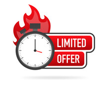 Limited Offer Service Badge. Limited Time With Stopwatch On White Background. Vector Illustration.