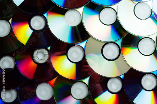 Сd disc background. Compact disk collection decoration. #396966904