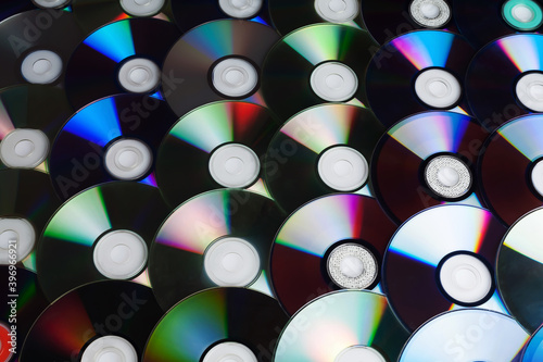 Сd disc background. Compact disk collection decoration. #396966921