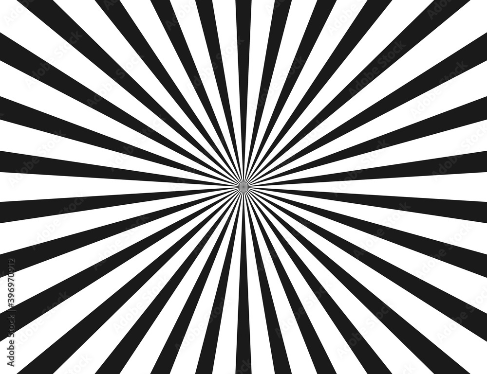 Fototapeta White and black ray burst or sunburst style background vector illustration