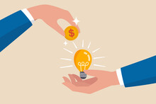 Crowd Funding, New Business Or Start Up Company To Get Money Or Venture Capital To Support Or Sponsor Business Concept, Businessman Hand Giving Money Dollar Coin To New Business Idea Light Bulb.