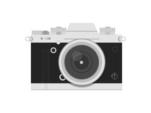 Old Style Vintage Film Camera Isolated On White Background. Retro Grey Silver And Black Photo Camera. Vector Illustration. Detailed Realistic Icon.